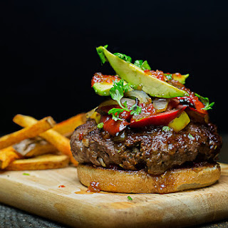 Summer Burger with Hot Pepper Jelly and Paprika Fries