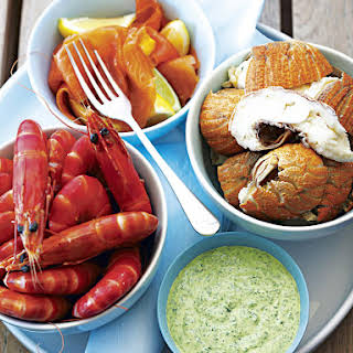 Cold Seafood Platter with Herbed Yogurt.