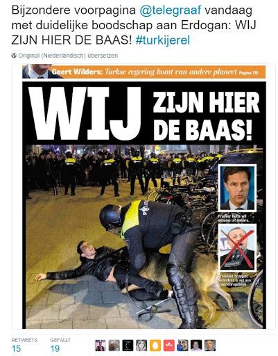 Die Schlagzeile der niederländischen Zeitung lautet übrigens: WIR sind hier der Boss!