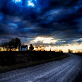 Road to Perdition by Scott Bryan - Landscapes Sunsets & Sunrises ( sky, ohio, church, sunset, road, landscape, rural )