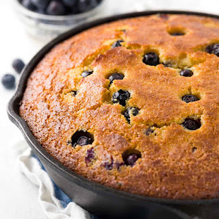 Skillet Cornbread with Blueberries.