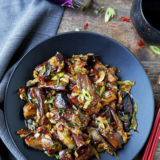 Eggplant with Garlic Sauce.