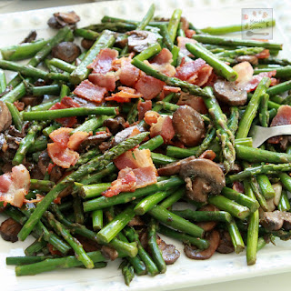 Asparagus with Bacon and Mushrooms.