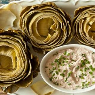 Steamed Artichokes with Creamy Walnut Dip.