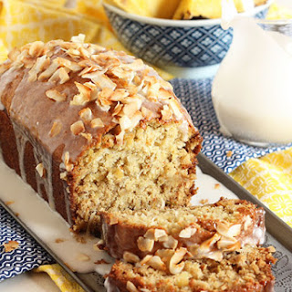 Pina Colada Banana Bread with Coconut Cream Glaze
