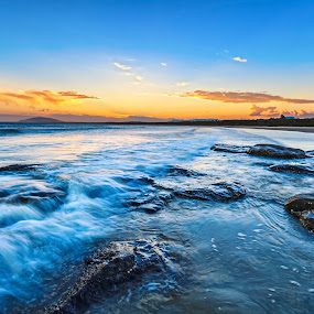 Burnished Gerroa Sunset by Andy Hutchinson - Landscapes Beaches