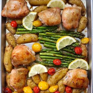 Sheet-Pan Chicken with Lemon, Potatoes + Asparagus Recipe