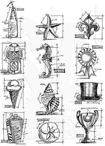 Tim Holtz Cling Stamps 7X8.5 - Mini Blueprints 6