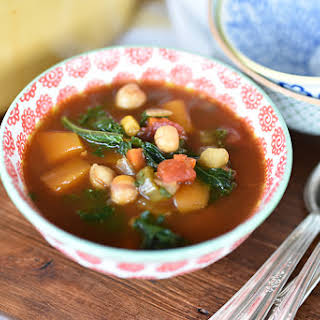 Lebanese Vegetable Soup with Chickpeas and Kale.