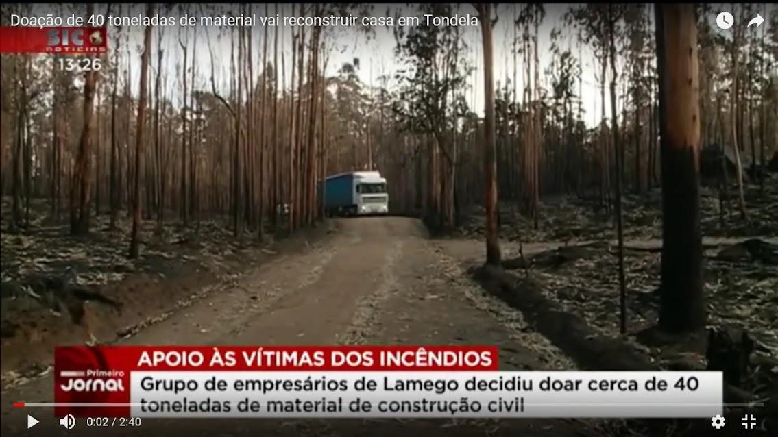Vídeo - Doação de 40 toneladas de material vai reconstruir casa em Tondela