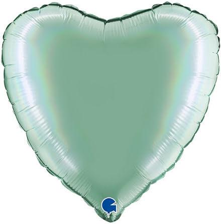 Folieballong Hjärta Rainbow - platinum tiffany, 46 cm
