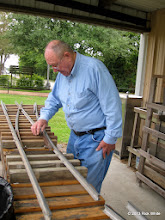 Photo: Bill Howe builds switches for two center tracks at the engine barn.    HALS Public Run Day 2013-0921 RPW