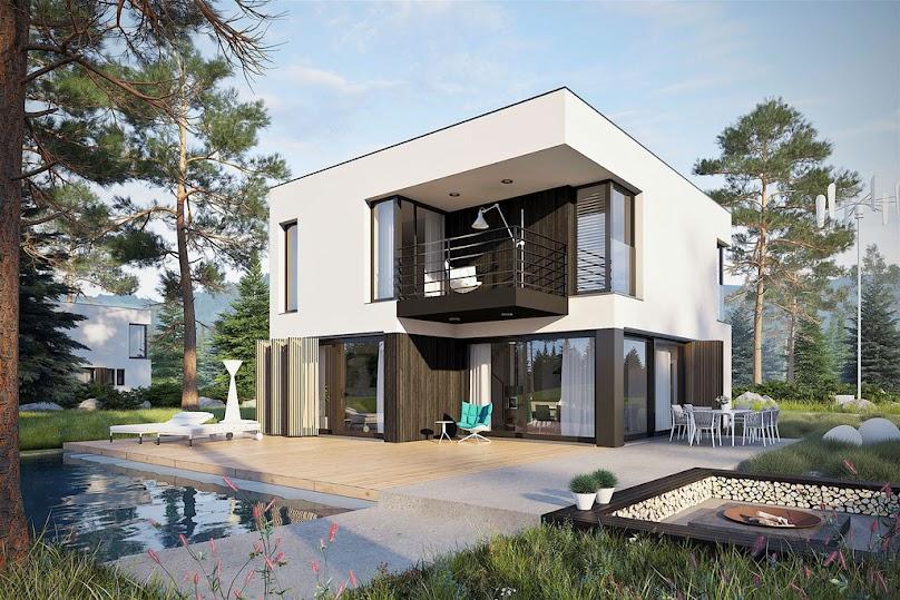 Nowoczesna elewacja - połączenie drewna, szkła i betonu.