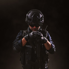special forces soldier police, swat team member by HIZIR KAYA - People Professional People ( studio, assault, gun, cop, officer, protection, operator, spec, uniform, weapon, security, white, terrorism, helmet, warfare, member, military, mask, swat, firearms, vest, black, equipment, counter, paintball, pistol, tactical, team, jack, army, special, armor, ops, police, task, soldier, background, tactics, force, policeman, rifle )