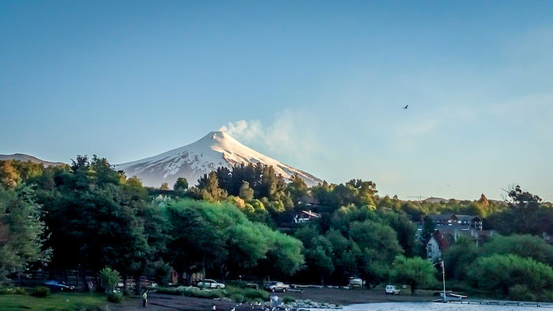 the villarrica volcano as seen from the lake villarrica in pucon chile