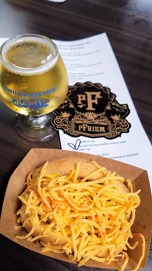 Snackdown 2017 for PDX Beer Week, a food and beer pairing event with a wrestling theme offering 10 Portland chef and 10 Oregon brewers working together. BUNK/Pfreim were strong contenders with the Cincinnati Chili Dogs w/cheddar, mustard & onions and cleaned up with the Helles Lager