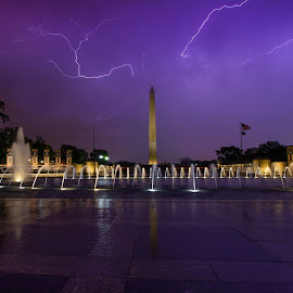 by Nathan Porath - City,  Street & Park  Night ( lightning, washington dc, rain, purple, monument, memorial, storms,  )