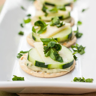 Cracker Bites with Dip, Cucumbers and Cheese