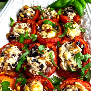 Roasted Tomatoes with Feta Cheese, Olives and Pine Nuts