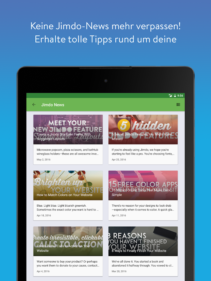 Jimdo – Webseitenbaukasten – Screenshot