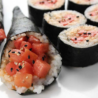 Spicy Watermelon Vegan Sushi.