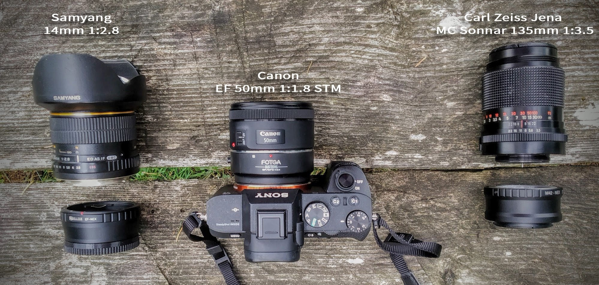 Hiking lens kit Samyang 14mm 2.8, Canon Lens 50mm 1.8 STM, Carl Zeiss 135mm 1:3.5
