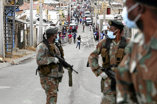 Soldiers patrol the streets of Alexandra in Johannesburg soon after the lockdown was announced. File photo.