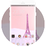 Theme for pink eiffel tower romance wallpaper APK icon
