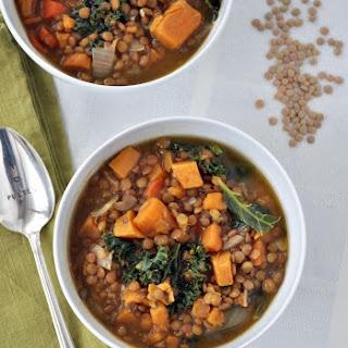 Lentil Sweet Potato Kale Soup.