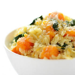 Orzo with Butternut Squash and Spinach.