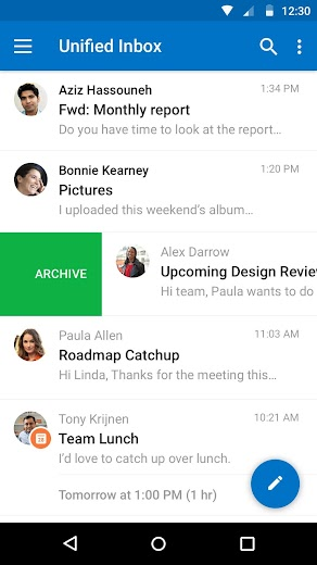 Screenshot 4 for Outlook Mail's Android app'