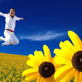 Flower Girl by Kris Hartanto - Nature Up Close Flowers - 2011-2013 ( field, girl, flower, jump,  )