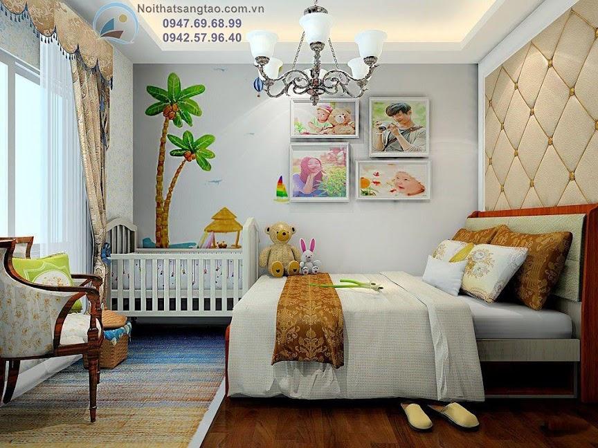phòng ngủ cho bố mẹ và bé đẹp