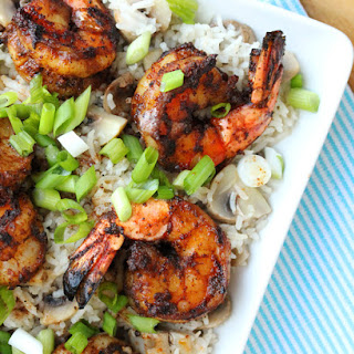 Grilled Shrimp with Brown Butter and Rice.