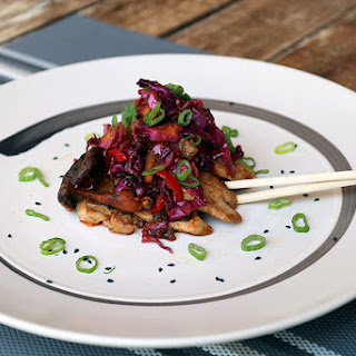 "Pork Shiitake Stir Fry with ""Quick Kimchi"""