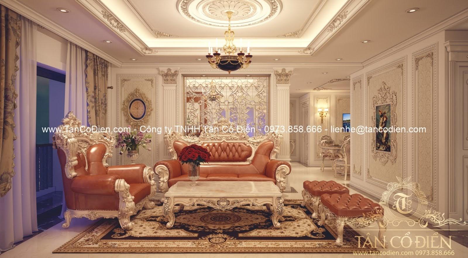 Nội thất phòng khách biệt thự phong cách cổ điển