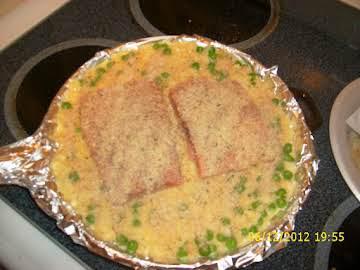 Cheese and Breadcrumb Crusted Salmon W/ Rice