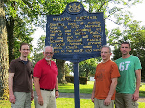 Photo: We decided to take their picture at the starting point the day before and thank goodness we did because it was pouring rain the next morning when Chuck actually started the run!! — with Keith Stone, Harvey Boatman, Chuck Stone and Keith Stone in Wrightstown, PA.