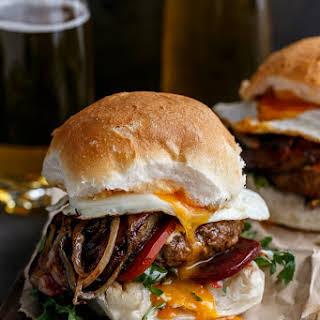 Drunken Aussie Beef Burgers.