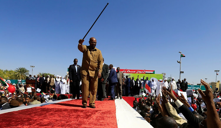 Sudanese President Omar al-Bashir waves to his supporters during a rally at the Green Square in Khartoum, Sudan, January 9 2019. Picture: REUTERS/MOHAMED NURELDIN ABDALLAH