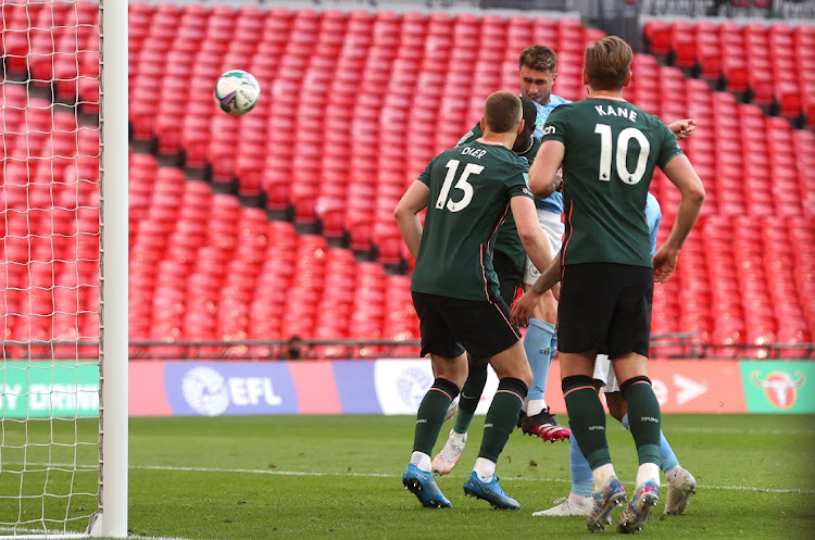 Aymeric Laporte of Manchester City scores their side's first goal past Hugo Lloris of Tottenham Hotspur during the Carabao Cup final between Manchester City and Tottenham Hotspur at Wembley Stadium in London, England, April 25 2021. Picture: CLIVE ROSE/GETTY IMAGES