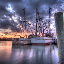 Couple of Shrimpers by Jason Green - Transportation Boats