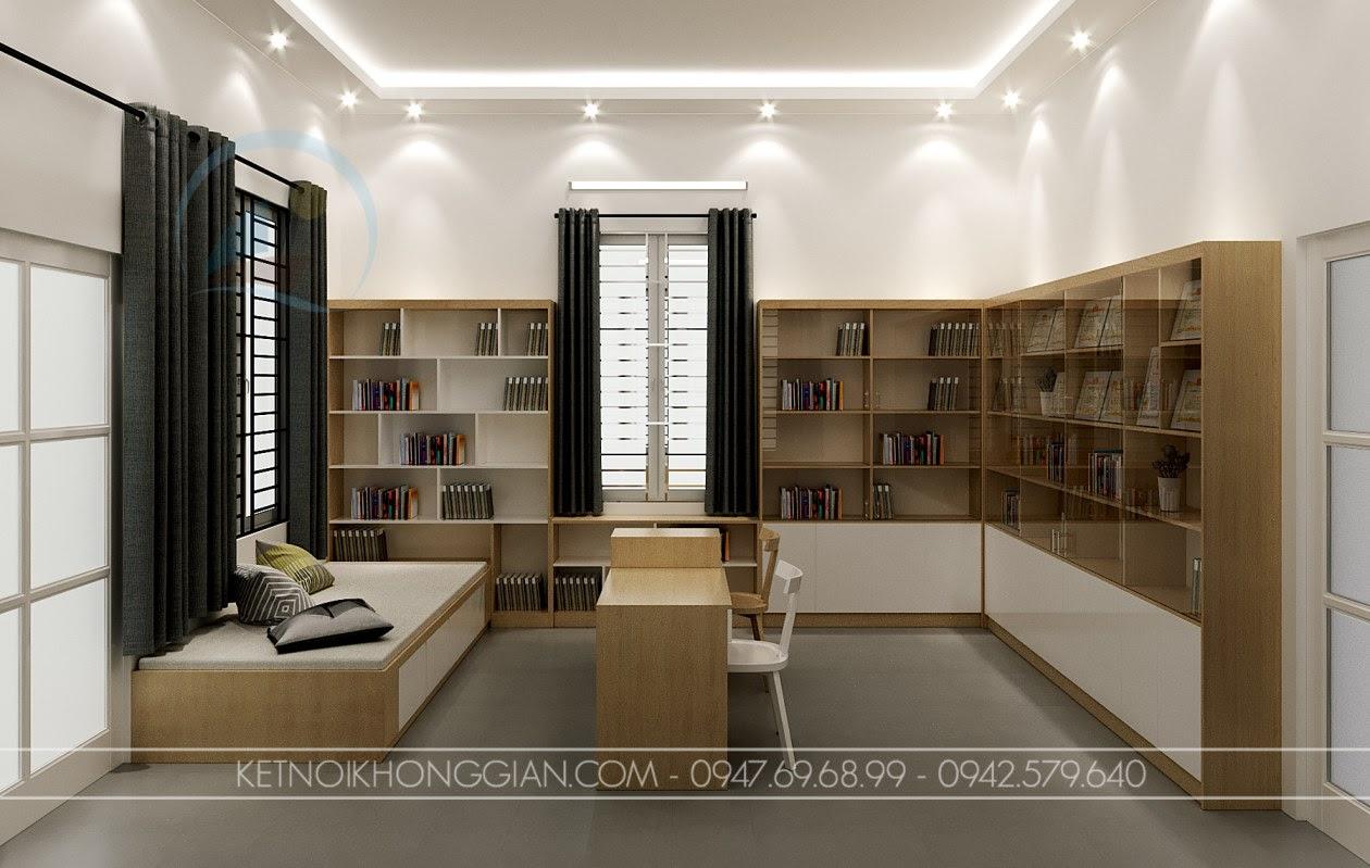 thiết kế phòng đọc sách kết hợp phòng làm việc 2