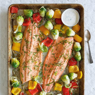 Baked Trout with Roasted Vegetables.