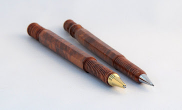 "Photo: Michael Blake - Ballpoint Pen & Pencil Set - 7/16"" DIA x 6 1/2"" [Amboyna Burl]"