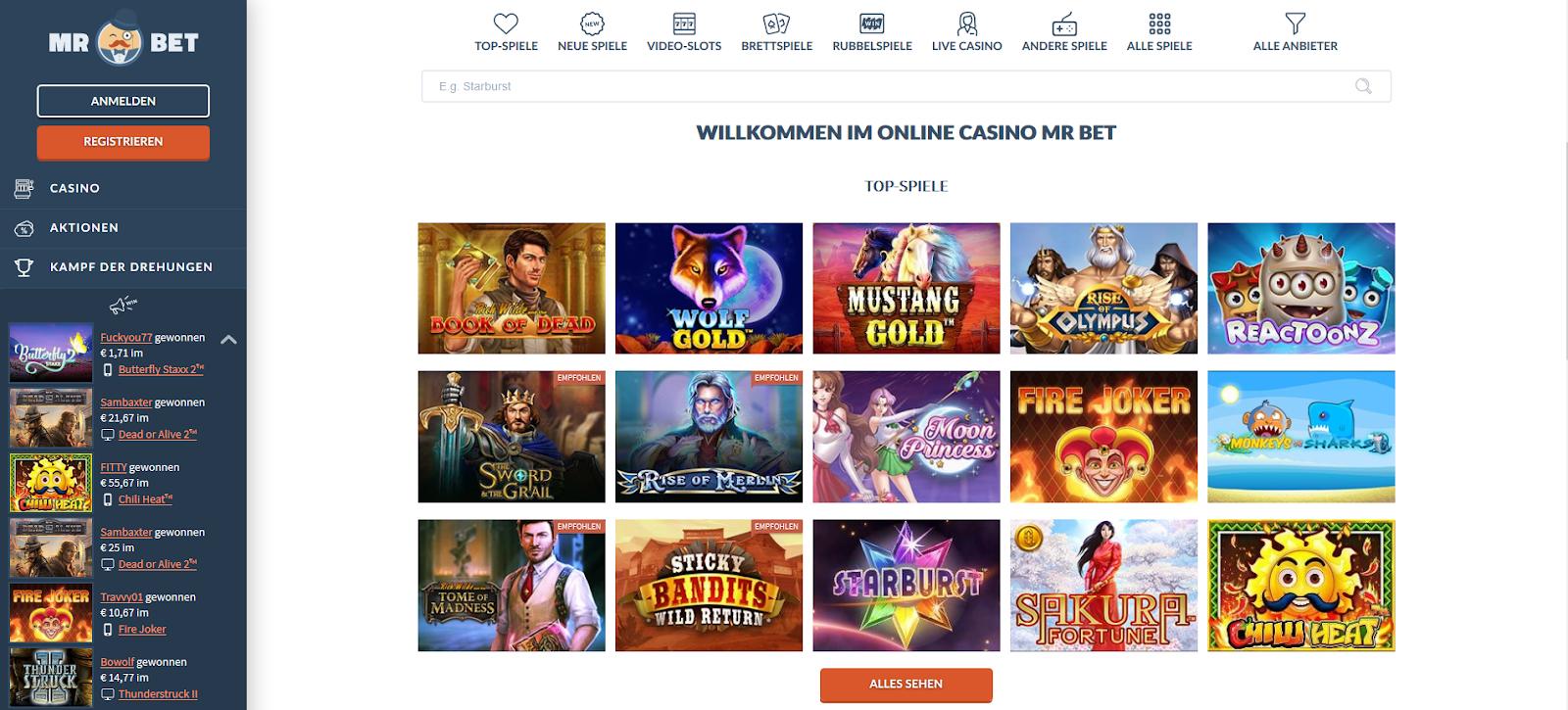 MrBet Casino Website: Spiele von Anbietern.