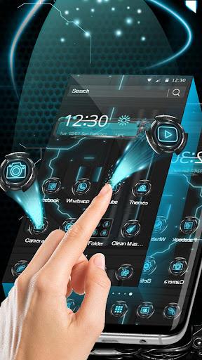 3D Blue Tech Globe Robot Theme screenshot 2