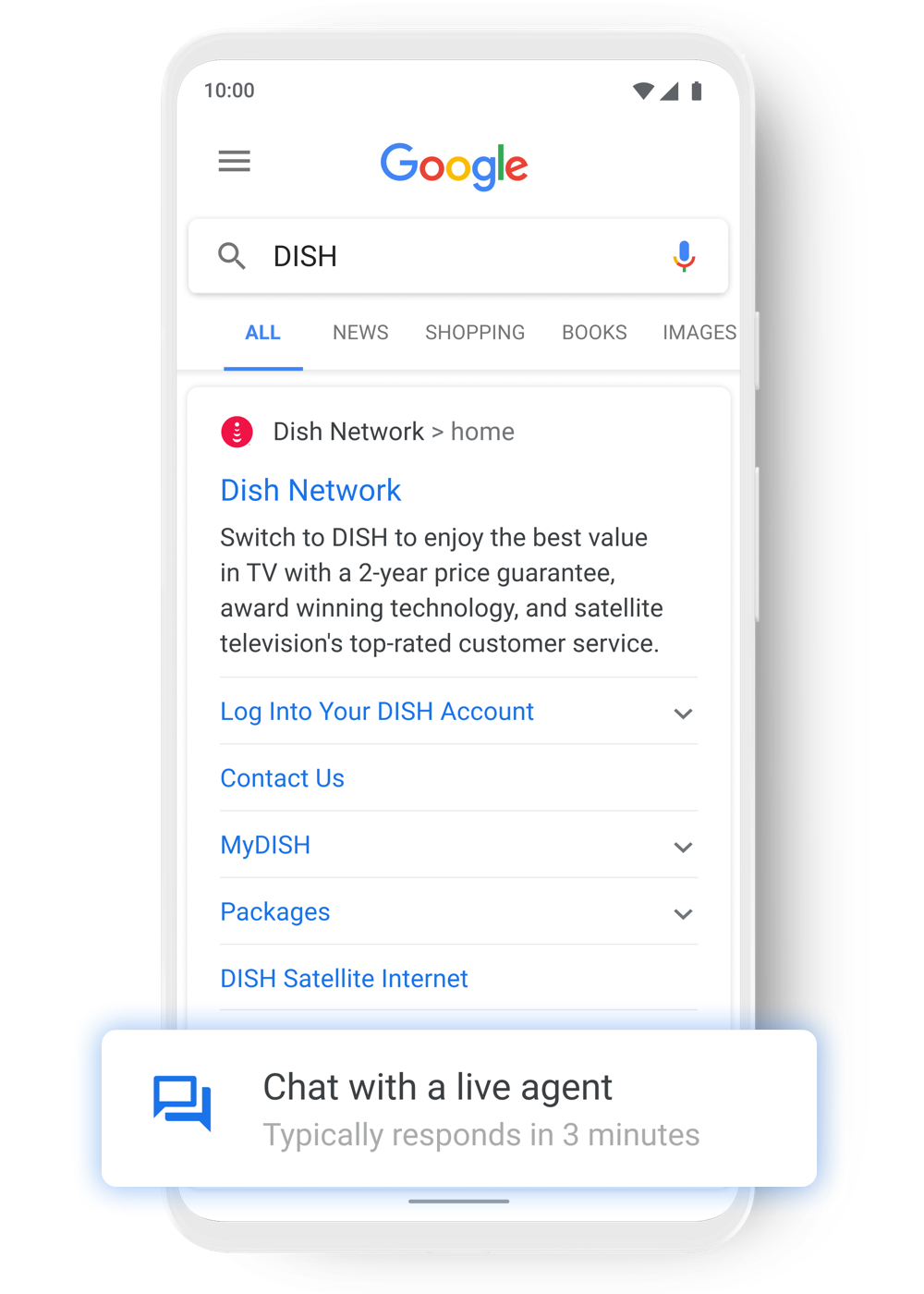 Customers chat with DISH through Google Search