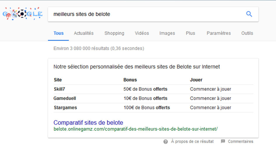 Page de résultats Google featured snippet