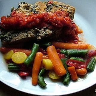Crock-Pot Turkey Spinach Meatloaf with Roasted Red Pepper Sauce.